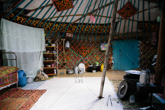 Mongolia - October 10, 2013: Neat and colorful interior of a Mongolian ger