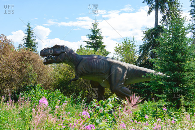 Gibbons, Alberta, Canada - October 11, 2015: Gibbons, Alberta, Canada - August 8, 2015: Tyrannosaurus Rex display at Jurassic Forest
