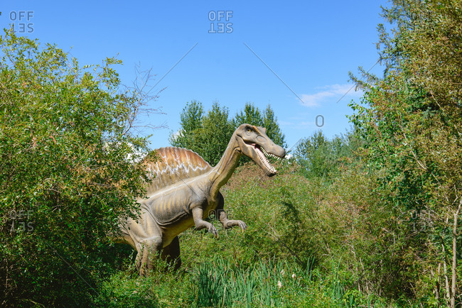 Gibbons, Alberta, Canada - October 11, 2015: Gibbons, Alberta, Canada - August 8, 2015: Spinosaurus display at Jurassic Forest