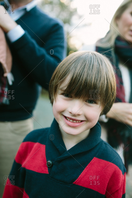 Boy in shawl collar sweater