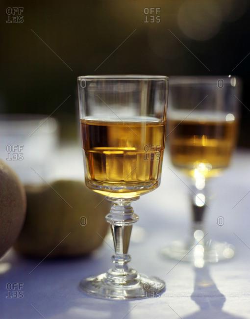 Ornate glasses of wine