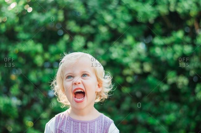 Portrait of a little girl yelling