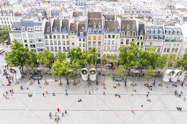 Paris, France: High angle view of giant air vents near a Paris neighborhood