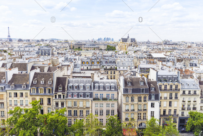 View of a densely populated residential neighborhood in Paris
