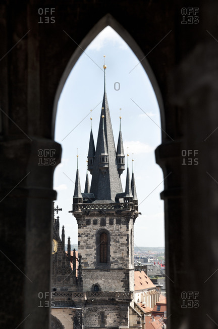 Tower of Church of Our Lady before Tyn through gothic window