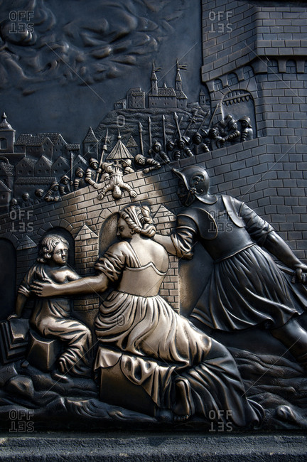 Bronze relief plaque on Charles Bridge, Prague