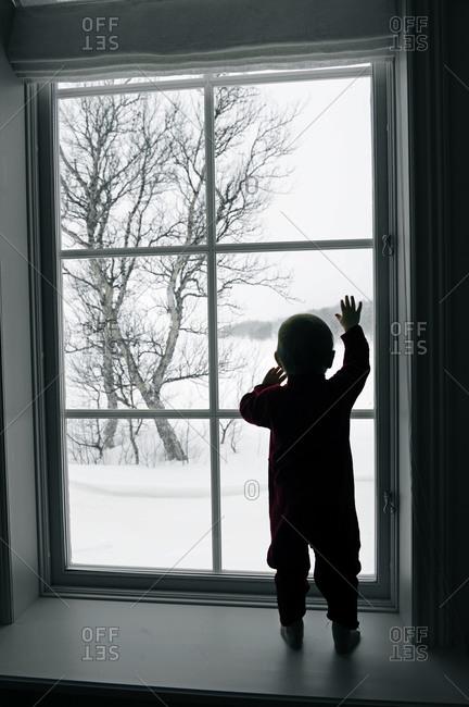 Silhouette of girl in window