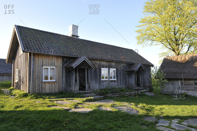 Wooden cottages in summer