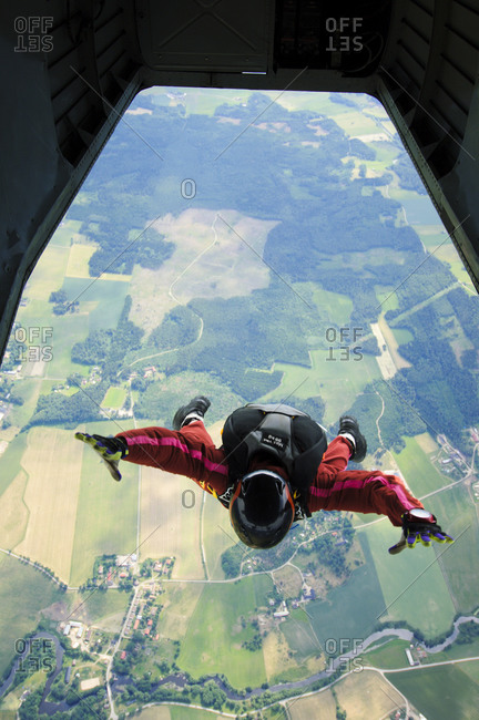 Parachute jumper just after leaving the plane