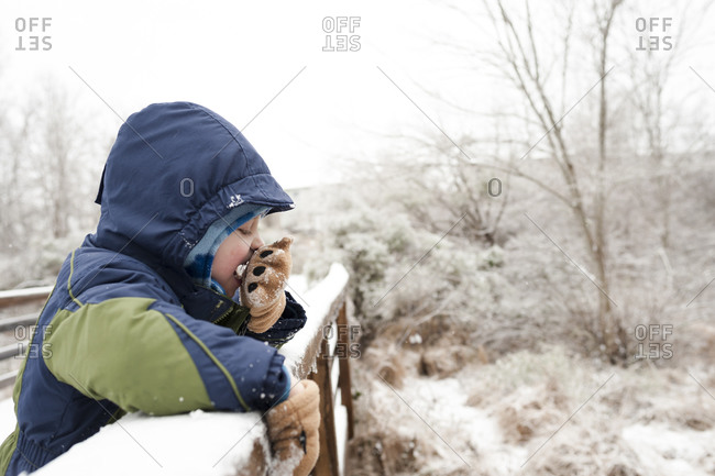 Little boy standing on a foot bridge eating a piece of snow