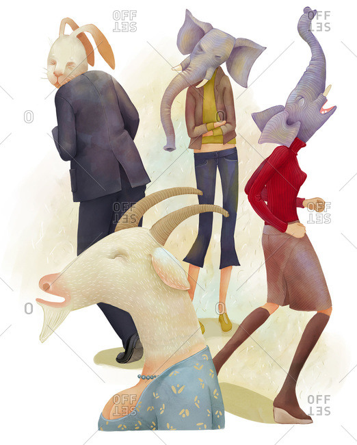Group of anthropomorphic characters in a circle