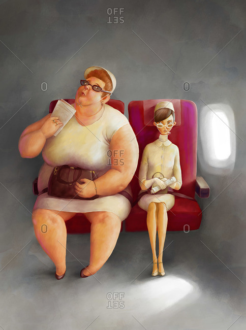 Two women sitting side by side in an airplane