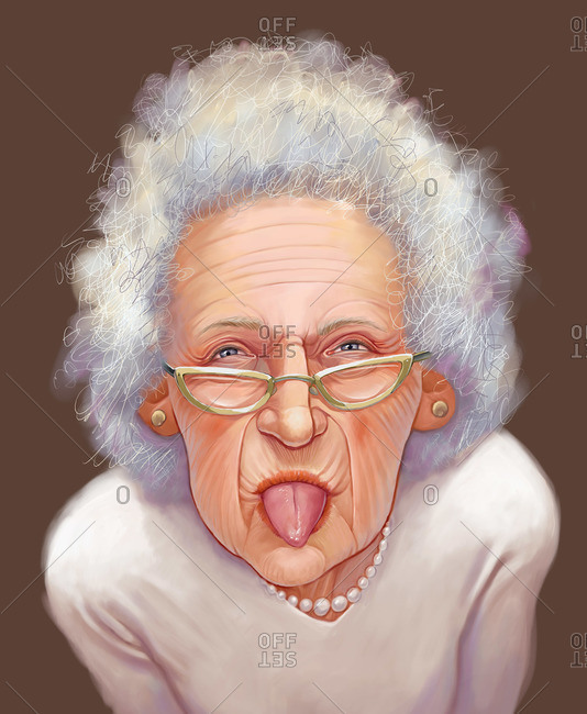 An elderly woman sticking out her tongue
