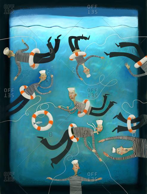 Sailors clinging to life preservers