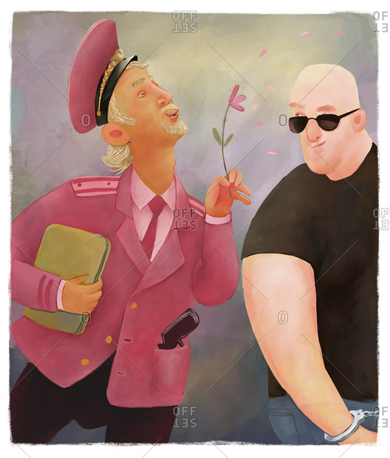 Flamboyant man in a pink uniform making an arrest