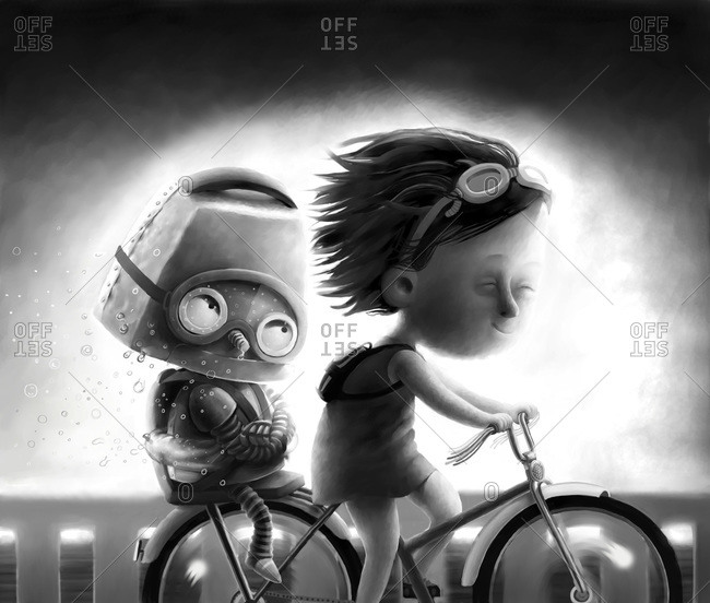 Girl and a robot riding a bike