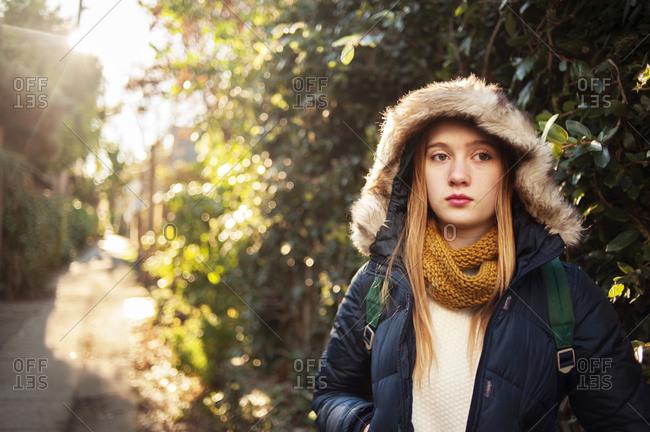 Portrait of a teenage girl in a winter coat