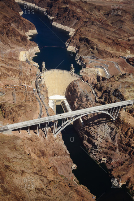 View of the Hoover Dam from the sky
