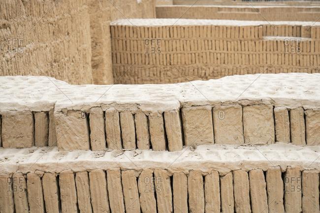 Ruins with ancient bricks and mortar