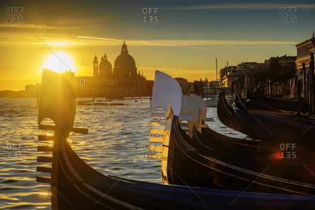 Gondolas at sunset, Santa Maria della Salute in the background