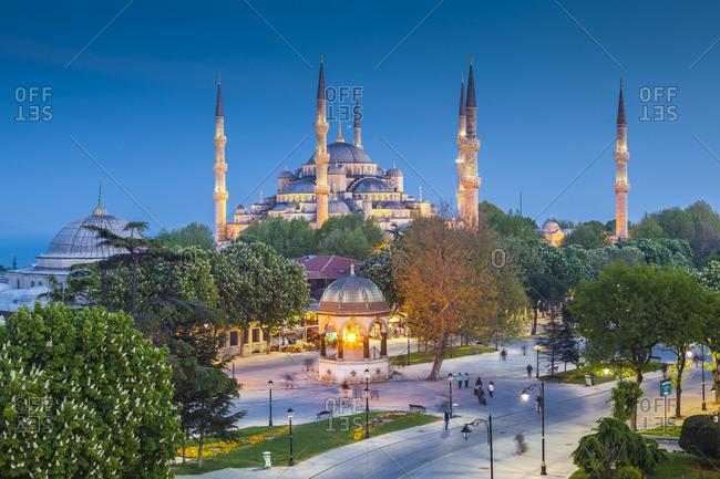 Haghia Sophia in Istanbul, Turkey at sunset