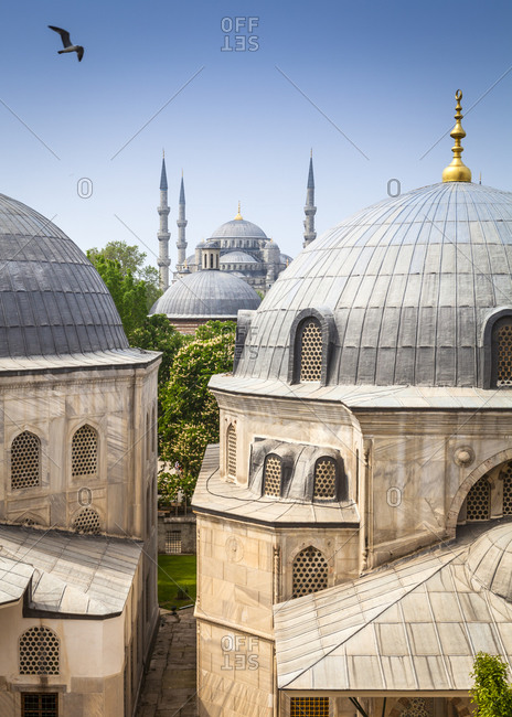 Close up of Hagia Sophia and Sultan Ahmed Mosque in Istanbul, Turkey