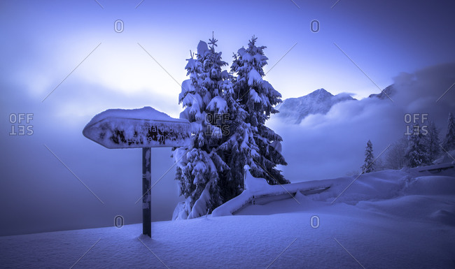 Berchtesgaden Alps, snowy landscape, sign on Rossfeld