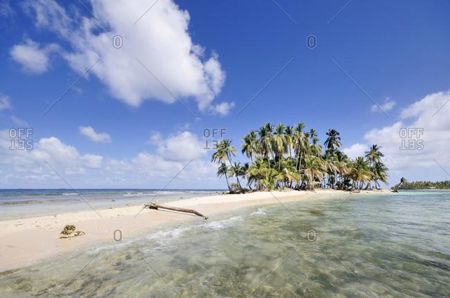Desert island with palms in Panama