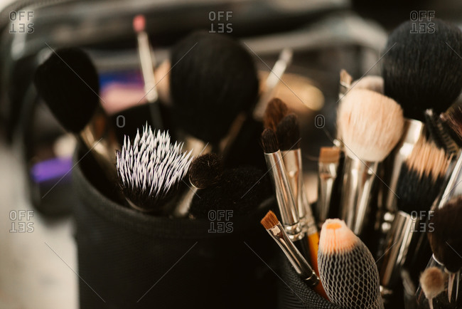 Various cosmetics brushes