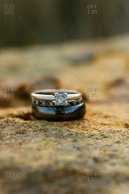 Three wedding rings stacked