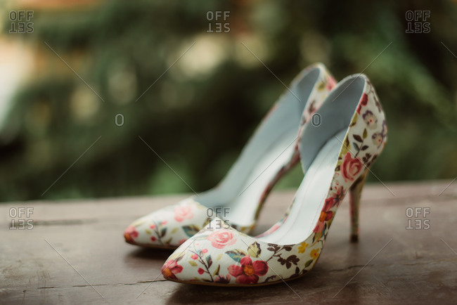 Floral bridal high heels