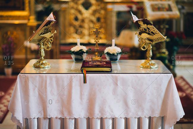 Altar set up for wedding