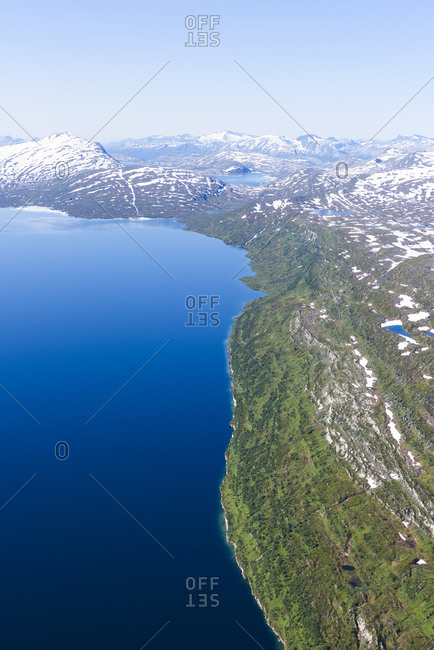 Aerial view of lake and mountains