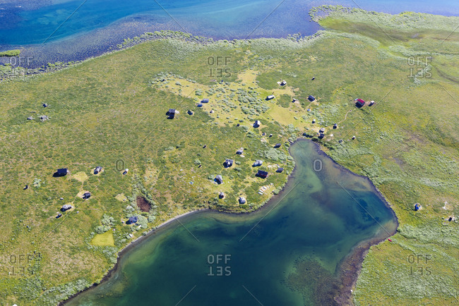 Aerial view of buildings at lake