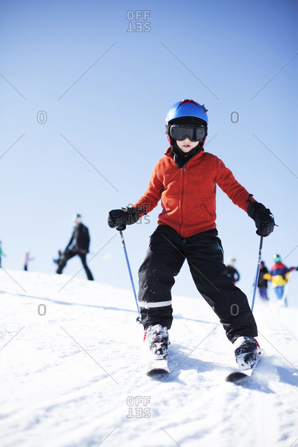 Girl skiing on bunny hill
