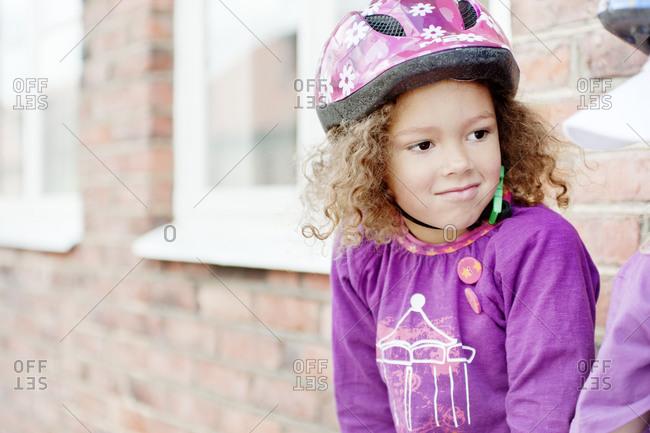 Girl wearing safety helmet