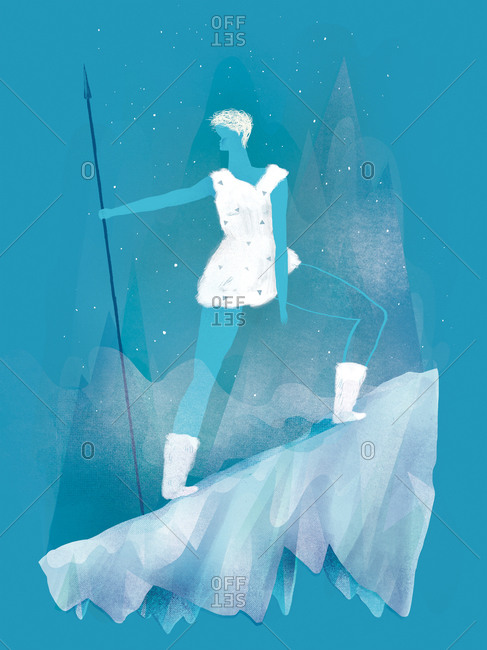 Woman holding a spear on an icy slope