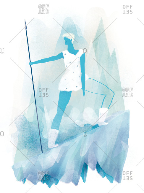 Woman on an icy slope with a spear
