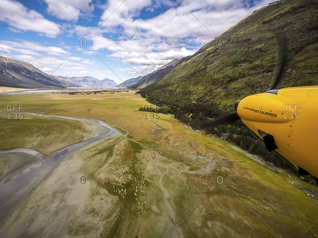 Plane propeller over wetlands at Lake Hawea, New Zealand