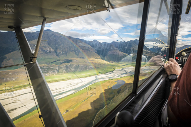View of a New Zealand river from a small airplane