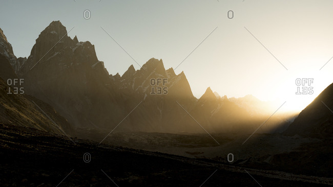 Sunrise over mountains at the Baltoro Glacier, Pakistan