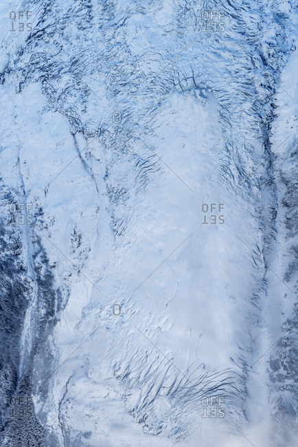 Aerial view of a vast frozen ice field
