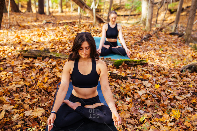Two women meditating on yoga mats in woods