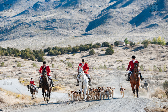 Nevada, USA - October 8, 2014: Fox hunters on road with pack of dogs