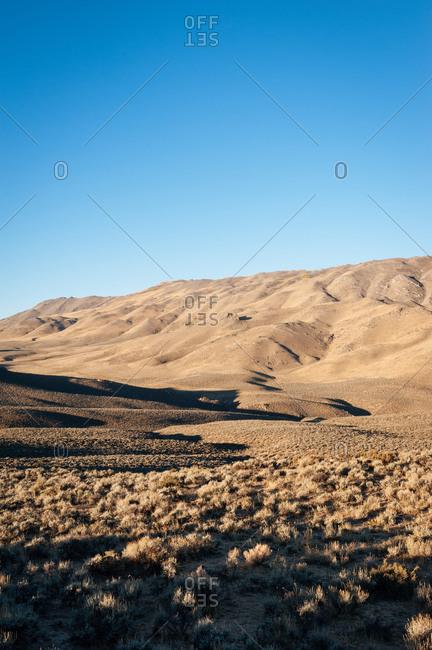 Sunrise on desert hills in Nevada