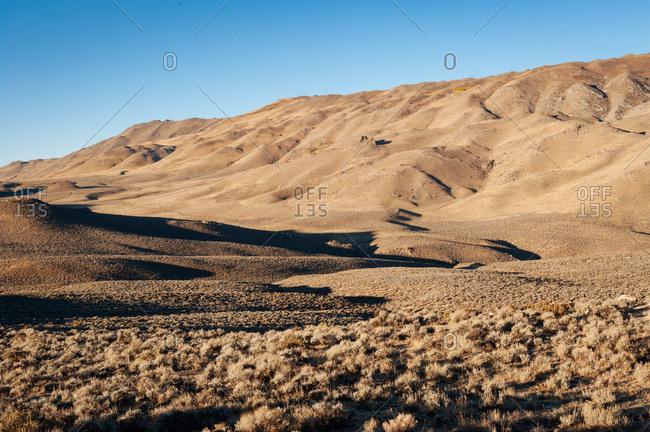 Sage brush covering desert hills in Nevada