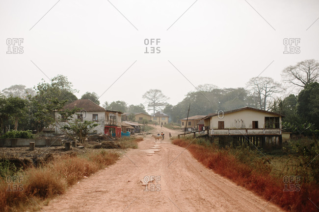 Dirt road leading through a Sierra Leone village neighborhood with a cow and people in the distance