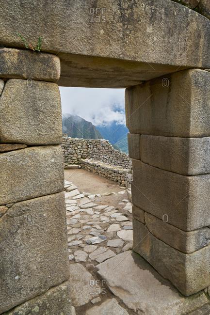 Stone entryway at Machu Picchu, Peru