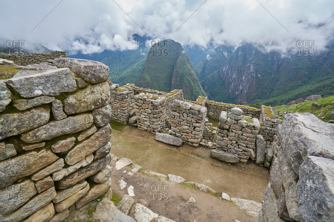 Remains of stacked stone structures at Machu Picchu, Peru