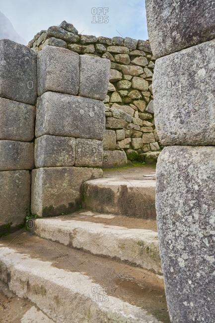 Stone steps and entryway at Machu Picchu, Peru